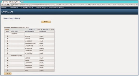 PeopleSoft Composite Query Kovaion